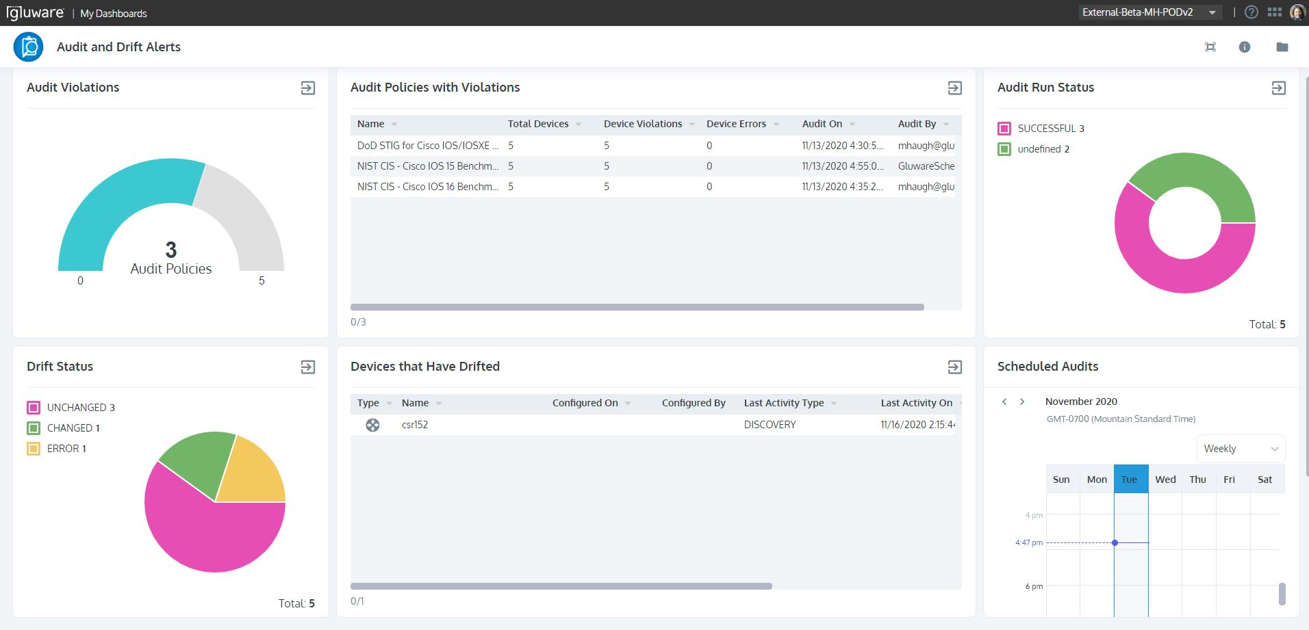Gluware Dashboard Framework - Dashboard AuditDrift