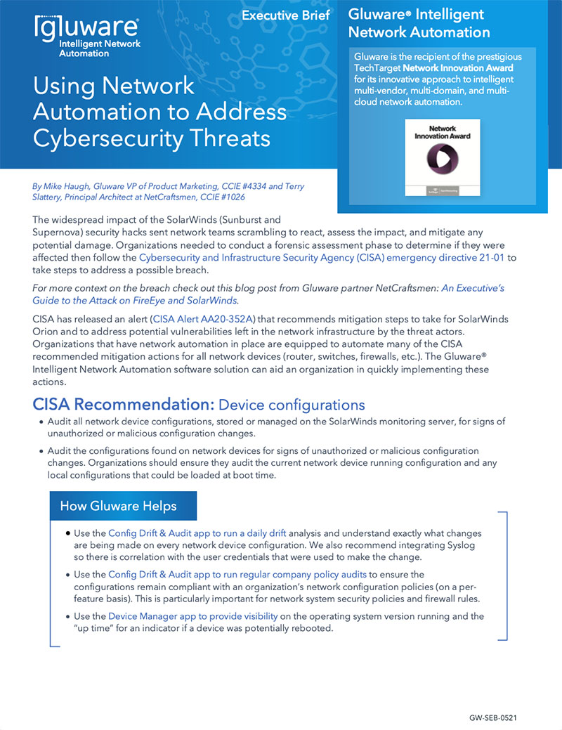 Network Security - using network automation to address cybersecurity threats