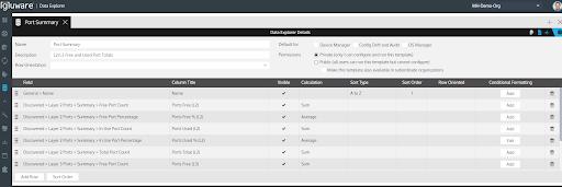 Data Explorer Template Editor
